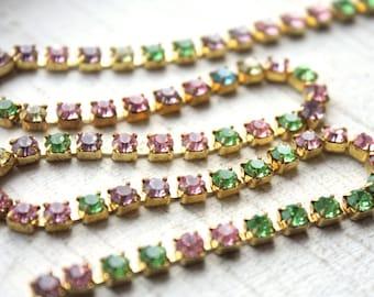 1 Foot Vintage Rhinestone Chain // 50s 60s Pastel Rainbow Rhinestone Chain // 4mm
