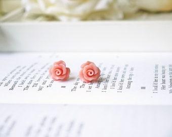 Light Pink Rose Titanium Earrings Petite Pastel Flower Romantic Simple Everyday Children Hypoallergenic Earrings