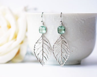 Light Green Glass Silver Leaves Earrings Matte Silver Filigrees Erinite Green Glass Modern Bohemian Earrings