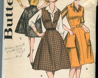 Butterick 9547 Vintage pattern for flared Skirt or Jumper and Blouse