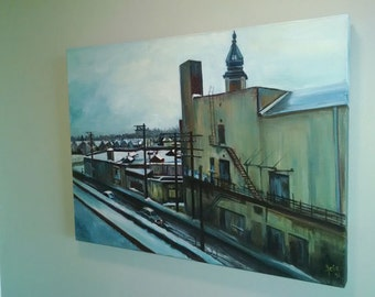 Winter Cityscape Oil Painting - 24 x 18