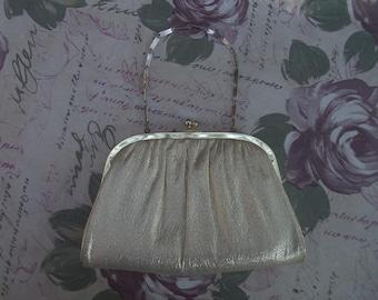 Harry Levine Handbag HL Handbag Gold Lame Handbag Gold Lame Clutch Gold Metallic Handbag 1950s 1960s 50s 60s Evening Bag Formal Handbag