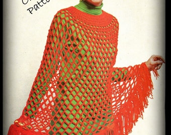Crochet Poncho Pattern - Mesh and Fringed - Women - PDF 09231617