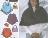 Caplet, Poncho, Hat, & Bag Sewing Pattern, Plus Size L, XL Simplicity 4785, UNCUT