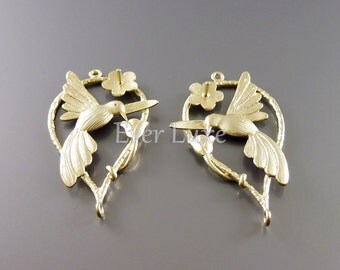2 Hummingbird and flower connectors for necklace making jewelry / gold nature inspired jewelry supplies 1205-MG (matte gold, 2 pieces)