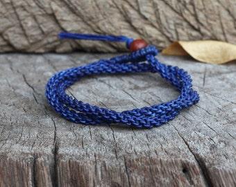 Double Wrap Dark Blue Woven Unisex Bracelet/ Necklace