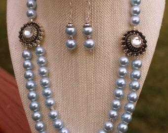 Light Blue Necklace, Blue Pearl Necklace, Light Blue Wedding