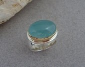 RESERVED - Payment on Aquamarine Ring in 18k Gold and Sterling Silver, Ice Blue Cabochon Ring, March Birthstone