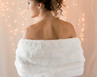 Faux Fur Stole shawl Winter wedding wrap FIVE grooved rows wide Available in white, ivory, cream or black