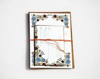 The Emily Collection - Ranunculus Floral Wedding Invitation Set in Periwinkle, Peach and Yellow with Kraft or Cream Envelopes - SAMPLE
