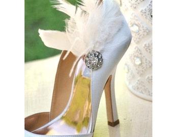 Shoe Clips Ivory / White / Black Feathers Rhinestone. Bride Bridal Bridesmaid Lush Edgy Spring Birthday Statement Boudoir Burlesque Feminine