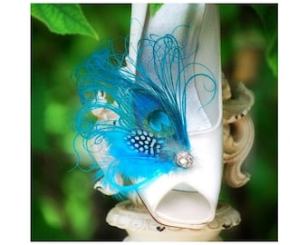 Shoe Clips Turquoise Peacock Feather & Rhinestone. Bride Bridal Bridesmaid Couture Gift, Statement Feminine Edgy Bold, Stunning Sexy Chic