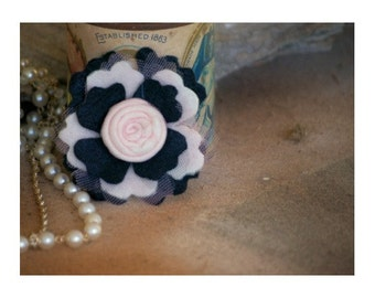 Black Ivory & Pink Flower Brooch Pin / Hair Clip / Barrertte / Comb. Handmade Preteen Teen Women Fashion Clip, Spring Parisian Birthday Gift