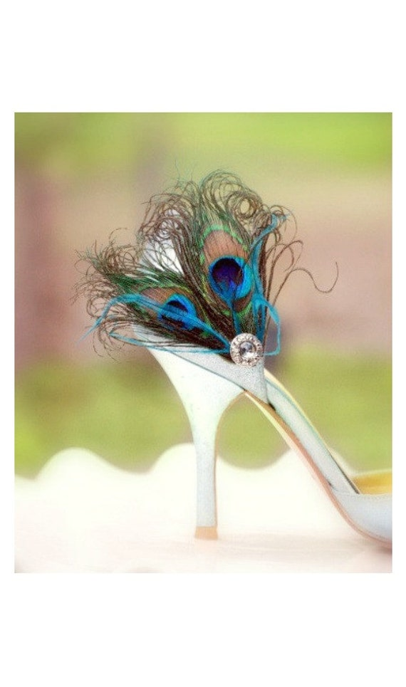 Fancy Peacock Duo & Teal / Turquoise Shoe Clips. Spring Couture Bride Bridesmaid, Chic Bridal Maid of Honor Gift, Silver Gem, Girlfriend BFF
