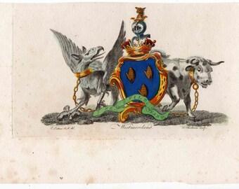 1790 heraldic crest original antique engraving - westmoreland