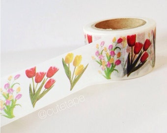 Pretty 30mm Wide Tulip Washi Tape Red, Yellow, Pink Chugoku