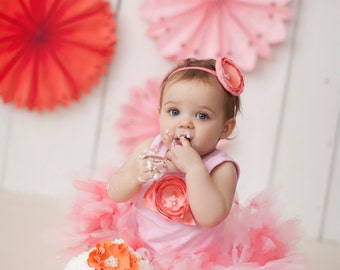 Birthday Tutu | 1st Birthday Tutu Dress | Baby Birthday Tutu | Cake Smash Tutu | Tutu Skirt | Pink and Coral Birthday Tutu