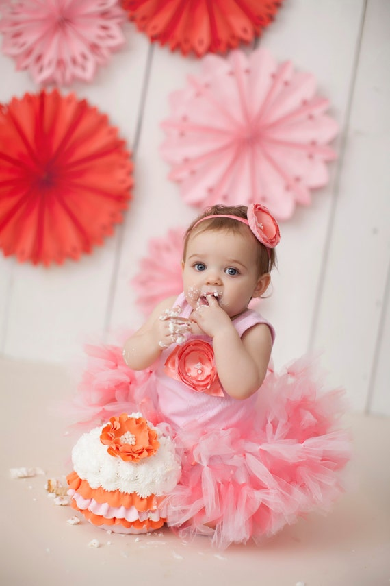 Sweet Coral Pink Tutu Dress Outfit Baby Girls by