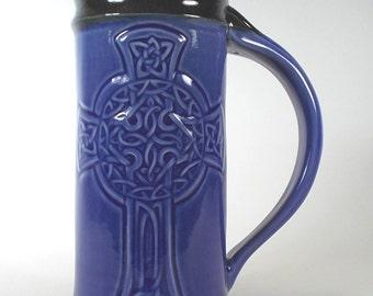 Celtic Cross Beer Mug  - Royal Blue - Stoneware Pottery for Celtic Weddings, Renaissance Stein, Anniversary Gift, Handcrafted Art Pottery
