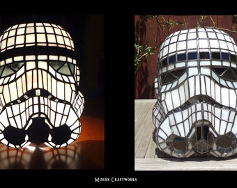 Stormtrooper Helmet Table Lamp - Stained Glass - Star Wars - Imperial Home Decor - RBG LED Color Change with Remote -Full Size Helmet - OOAK
