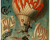 antique victorian italian balloonist illustration digital download