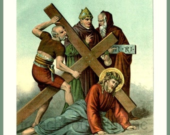 antique victorian catholic religion illustration stations of the cross station 9 digital download