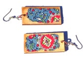 GYPSY Earrings, Fabric & Wood Dangle, Red Blue, Floral Ethnic Boho, OOAK