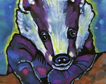 POSTER SIZED Badger Watercolor Painting Print, Artist-Signed