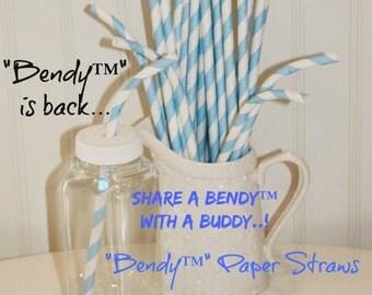 Paper Straws, 20 BENDY™ Paper Straws, Pastel Blue Striped Bendable Paper Straw, Birthday Party, Baby Shower, Wedding, Mason Jar Straw