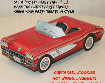 Car Party Food Box- Set of 6 Red & White Car Box- Food Tray Box-Classic Car-Vintage Car Food Box Tray-Cute Kids Favor Box-Lunch Box-Retro