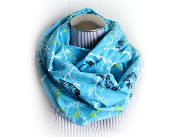 Blue with Black Bird Infinity Scarf, Chartreuse Leaves, Black Bird Silhouette and White Sticks on Cerulean Blue Flannel