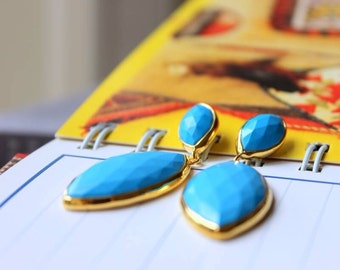 Turquoise Gold Earrings - Bezel Set Post Earrings.......LIMITED EDITION