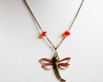 Green Red and Brass Dragonfly Necklace