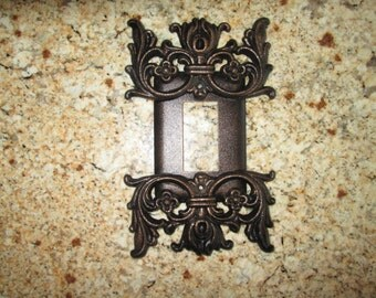 Metal Single Rocker Switch Plate Cover  Old World Medieval Tuscan Gothic style decor