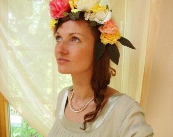 Rose flower crown, large hair wreath, flower crown, Frida Kahlo hair piece, bright flower accessory, wedding