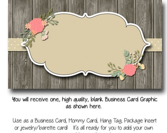 DYI Blank Business Card Template   Vintage Charm   Made To Match Etsy Sets  And Facebook