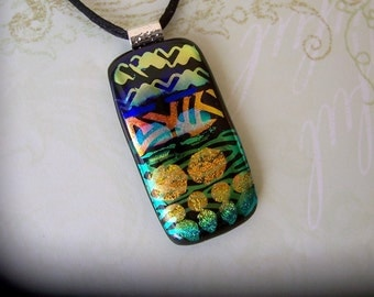 Fused Dichroic Glass Pendant - Dichroic Jewelry - Dichroic Glass Pendant & Necklace - 25-14