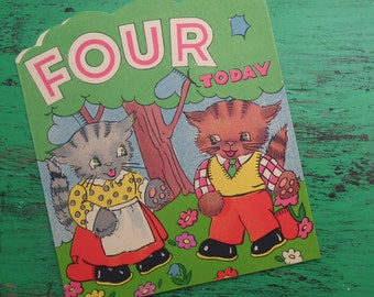 Vintage 30s 40s Fourth Birthday Card Age 4 Four Years Children's Greetings Card Nursery Art 1930s 1940s Cats Kittens Puzzle Cards UNUSED