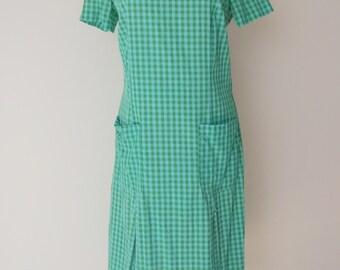 Vintage Gingham Print Cotton Scooter Dress