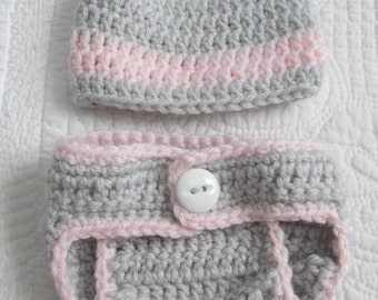 Light Pink and Light Grey Crocheted Newborn Hat and Diaper Cover Matching Set Machine Wash and Dry for Baby Girl Made To Order