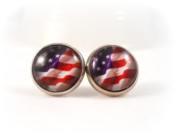 American Flag Earrings, Red White and Blue, Patriotic Jewelry, USA Jewelry American Flag Jewelry, Patriotic Earrings, July 4th, 4th of July