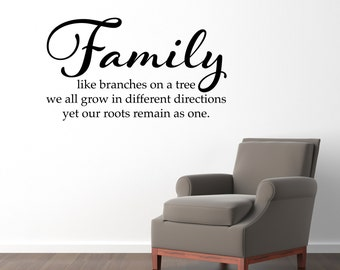 Family Quote Decal - Family like branches on a tree Wall Decal - Picture Wall Quote Sticker