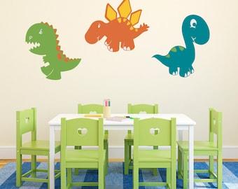 Dinosaur Set Wall Decal - Set of 3 Dinosaur Stickers - Dinosaur Wall Art