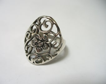 Size 8 - Vintage wide open scroll with flower sterling silver ring - Thailand