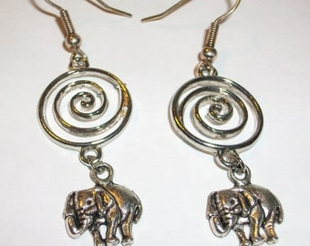 Elephant Earrings Dangle on a Spiral Good Luck                         FREE SHIPPING USA