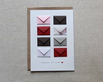 Sending You Love - Tiny Envelopes Card with blank notes and confetti
