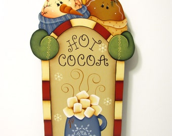 Snowman, Penguin, Gingerbread Hot Cocoa Sign, Handpainted, Hand Painted Ginger Home Decor, Wall Art, Tole Decorative Painting