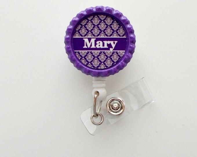 Personalized Damask Purple - ID Badge Holder - Badge Reel - Name Badge Holder - Teacher Badge - Nursing Badge - Nurse Badge Holder - RN