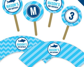 Shark Party - Personalized DIY printable cupcake wrapper and topper set