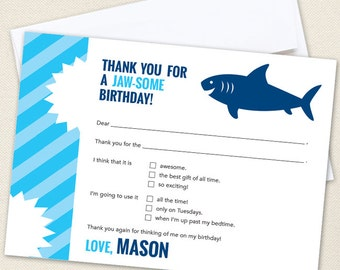 Shark Party Thank You Cards - Professionally printed *or* DIY printable
